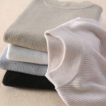 High-quality womens sweater semi-high cashmere Pullover pure strip elastic sweater.
