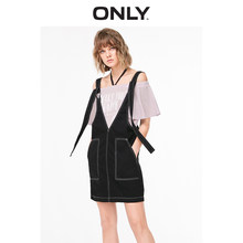 ONLY 2019 Spring Summer New Straight Fit Denim Suspender Dress |119142507(China)