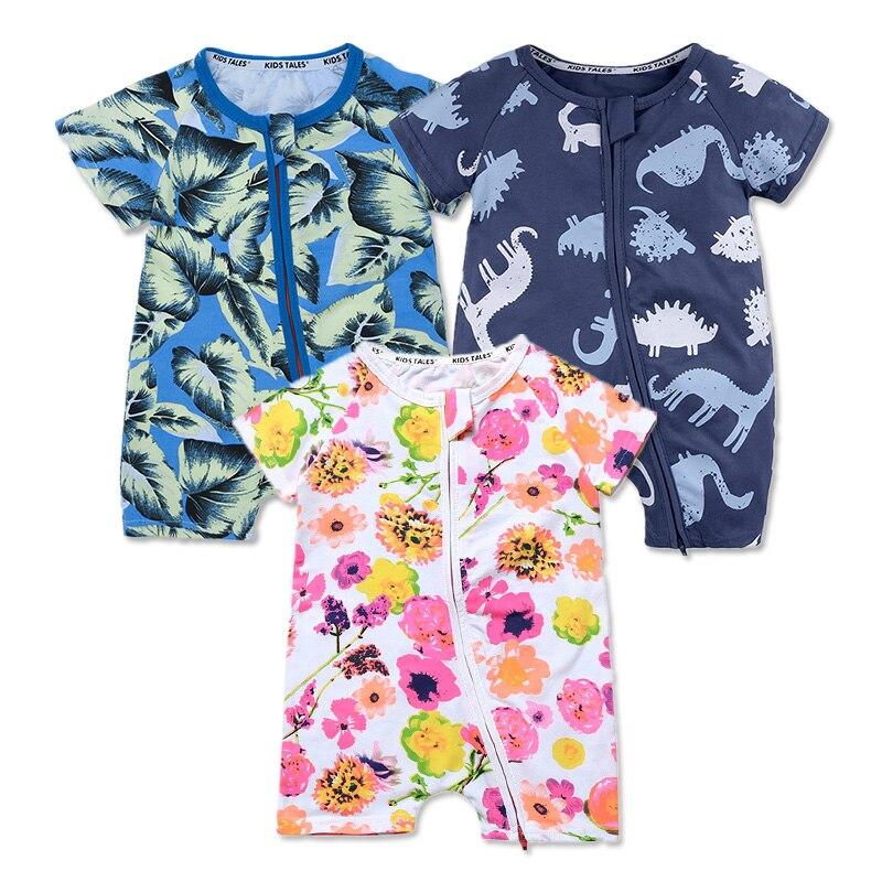 Летние Детские Комбинезоны для малышек на молнии новорожденных Обувь для девочек одежда Комплект одежды для маленьких мальчиков детские хлопок короткий комбинезон детская одежда комбинезон для детей