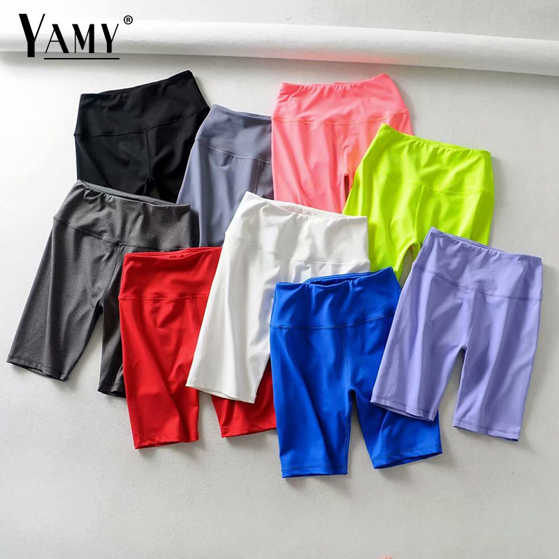Summer Neon Green High Waist Shorts Women Stretchy Elastic Sweat Pink White Black Biker Shorts Red Vintage Ladies Short Feminino