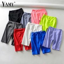 Summer neon green high waist shorts women stretchy elastic sweat pink white black biker shorts red vintage ladies short feminino