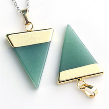 1 Piece Fashion Natural Stone Pendant Triangle Opal pink Quartz Green Aventurine Gem Stone Healing Chakra Pendant Fit Necklace