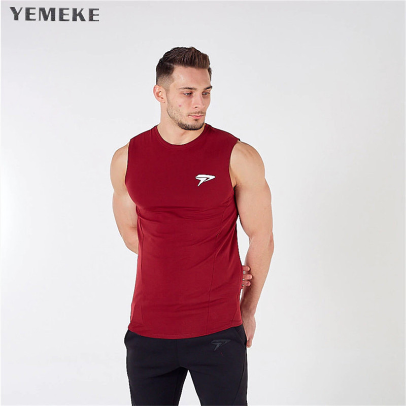 YEMEKE mens sleeveless t vest Summer Cotton Male   Tank     Tops   gyms Clothing Bodybuilding Undershirt Golds Fitness   tank     tops