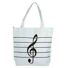 1 PZ Spalla Casual Tote Sacchetti di Spalla di Modo Ragazza Delle Donne Casual Canvas Note Musicali Borsa Scuola Satchel Tote Shopping Bag(China)