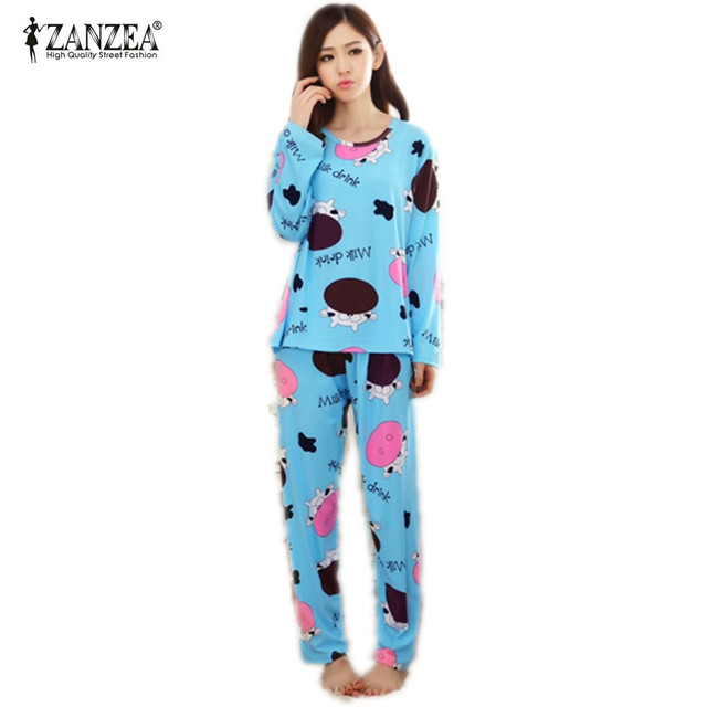 New 2016 Autumn Women Lovely Cotton Pajamas Sets Warm Ladies Long Sleeve Sleepwear Home Clothing Feminino Girls Nightgown M L XL