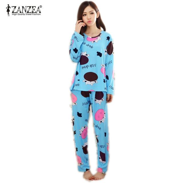 Nuevo 2016 Otoño Mujer Encantadora Pijamas de Algodón Establece Caliente de Las Señoras Feminino Niñas Camisón de Dormir Ropa de Hogar de Manga larga M L XL