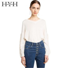 HYH HAOYIHUI Fashion Women Sweater Solid Beige Sweet O-neck Full Sleeve Ruffle Lady Tops Loose Casual Preppy Style Pullover