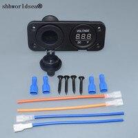 Shhworldsea 105*42mm 2 in 1 Waterdichte 12 V Sigarettenaansteker Power Panel Voltmeter Voor Camper Caravan Marine