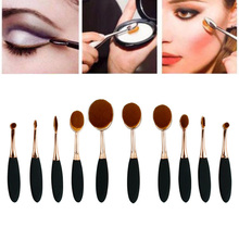 10PCS Toothbrush Design Eyebrow Foundation Power Face Eyeliner Lip Oval Cream Puff Brushes For Makeup Beauty Tools Sep6
