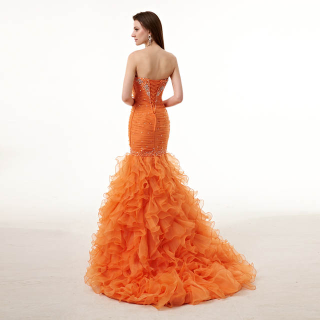Online Shop Forevergracedress Real Pictures Gorgeous Orange Prom Dress New  High Quality Mermaid Crystals Long Formal Party Gown Plus Size  4b458c4d402d