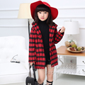 Kids/Children Winter Classics Plaid Wool Hooded Long Jacket Coat Thick Warm Manteau/Sudaderas/Outwear For Girls/Fille/Enfant