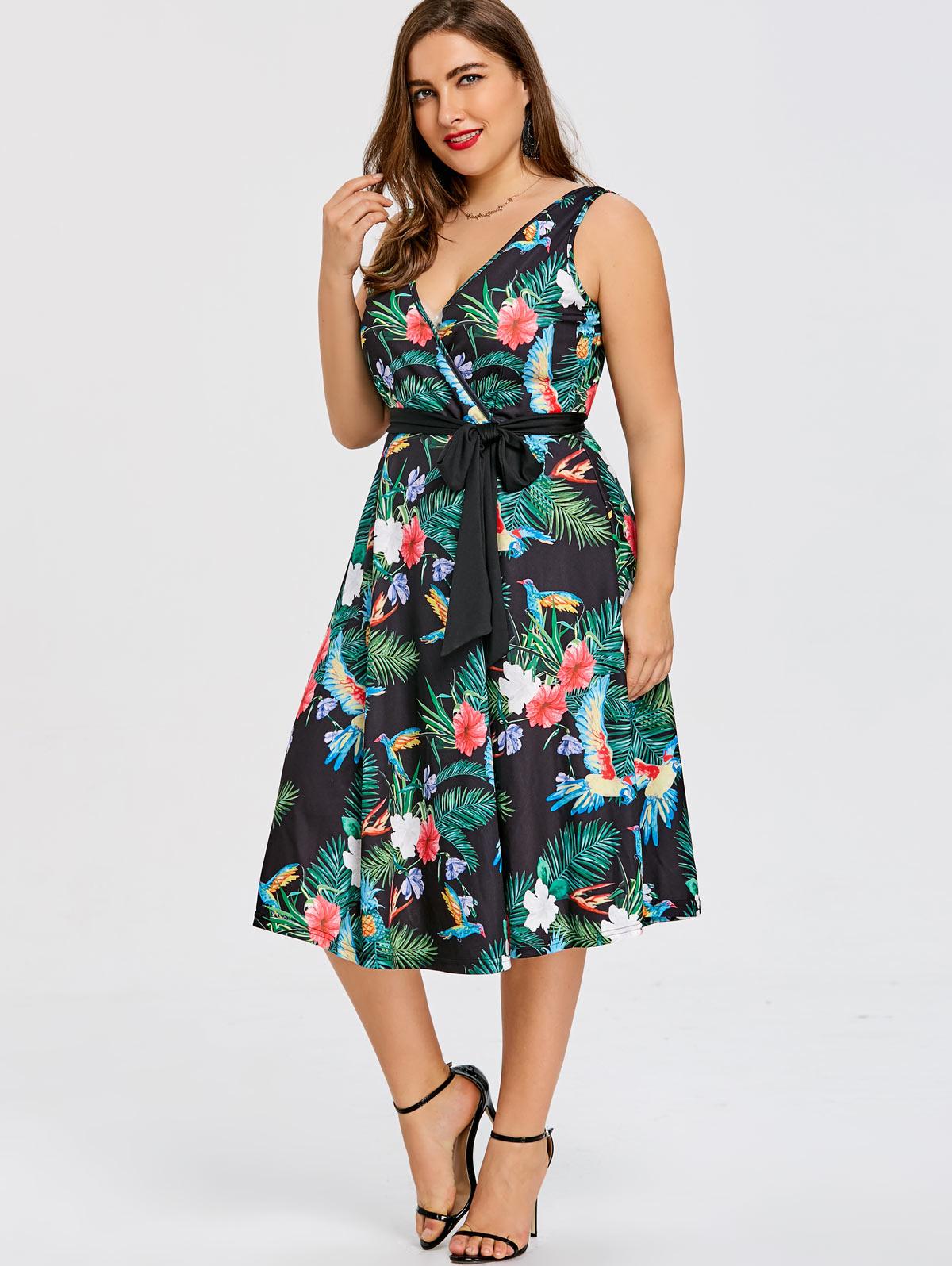 US $14.68 55% OFF|Wipalo Plus Size Hawaiian Leaf Midi Boho Dress Women  Sleeveless V Neck Belted Elegant Party Vintage Dresses Robe Vestido 5XL-in  ...