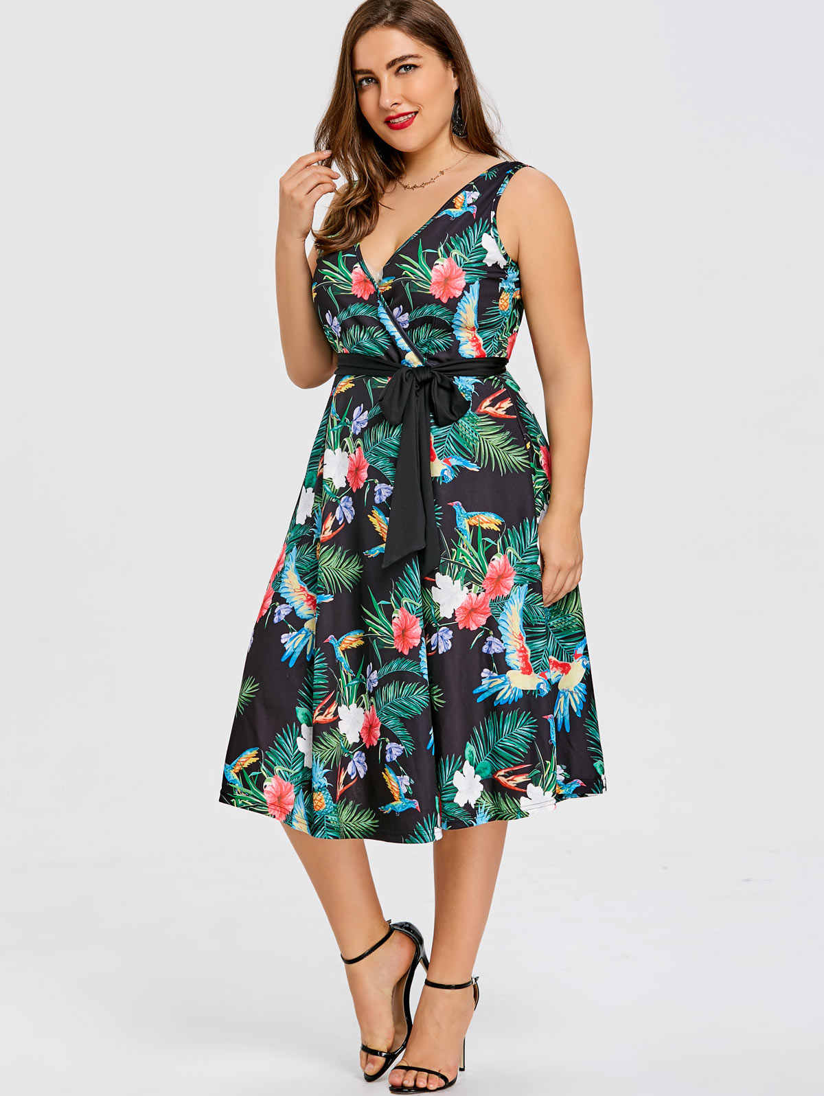 Wipalo Plus Size Hawaiian Leaf Midi Boho Dress Women ...