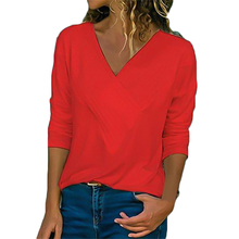 купить T Shirt Women Slim Slimming Long Sleeve V-neck T-shirt Female Solid Color Autumn Women Clothes 2019 Streetwear Plus Size Clothes по цене 511.93 рублей