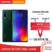 Смартфон lenovo Z6 Lite с глобальной прошивкой, 4 ГБ, 64 ГБ, Восьмиядерный процессор Snapdragon 710, с тройной задней камерой, 19,5: 9, капля воды, 6,3 дюйма, 4050 мА...
