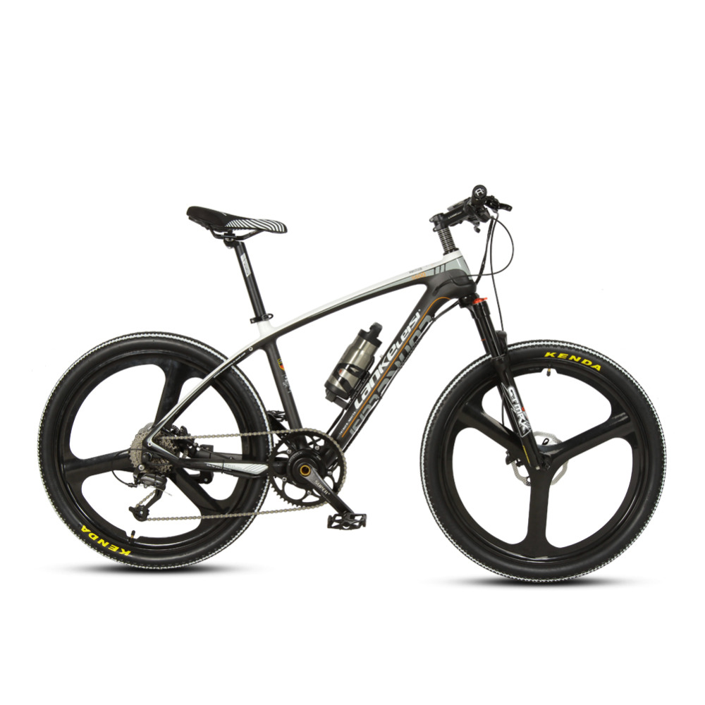 где купить Cyrusher S600 Electric Mountain Bike 26x17 Carbon Fiber frame bike 250W 36V 6.8ah Battery 9 Speeds Electric mountain Bicycle дешево