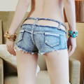 2017 New Summer Women's Fashion Denim Hollow Out Sexy Night Club Low Waist Shorts Hot Sale Jeans Short Pants Blue