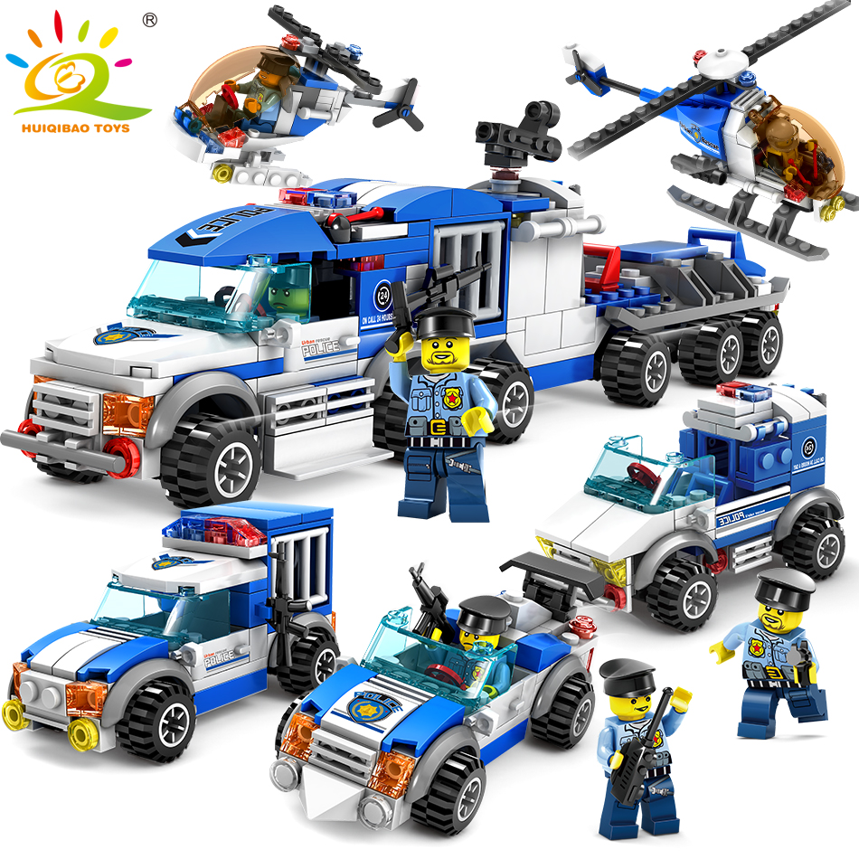 367pcs 4in1 Police Prison Truck Helicopter car Building Blocks Compatible Legoed City figures Enlighten Bricks Toys For children