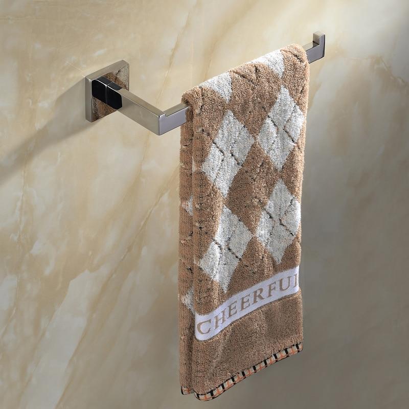Square Towel Holder Wall Mounted Stainless Steel Single Towel Bar Bathroom Holder Mirror Polish Towel Care  Bathroom Fixuture