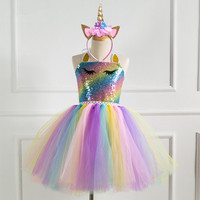 Princess party dress Unicorn tutu dress Flower Halloween new Unicorn colorful horse net princess dress Handmade girl dress