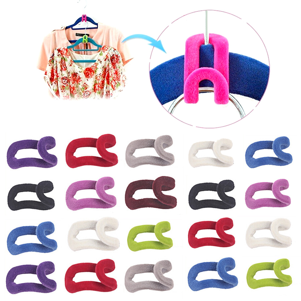 NC 20pcs New Cute Flocking Clothes Rack Hanger Easy Hook Creative Flocking Holder Anti-Slip Hanger Organizer Home Accessory