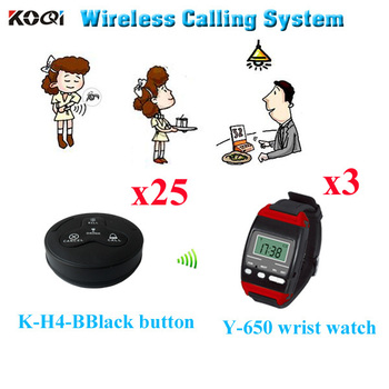 Restaurant Wireless Service Calling System CE Approved Restuarant Pager ( 3pcs wrist watch+ 25pcs call button)