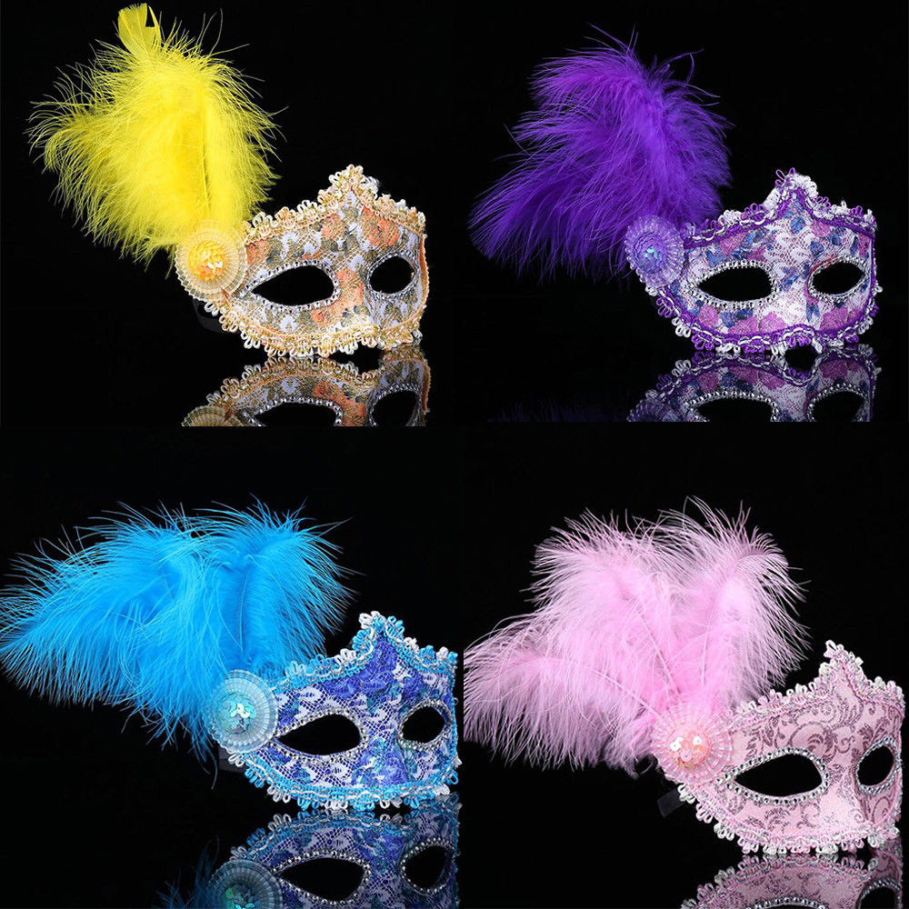 1pc Women Sexy Venetian Lace Feather Flower Eye Masks Christmas Halloween Masquerade Mask Girls Performance Party Dance Headwear
