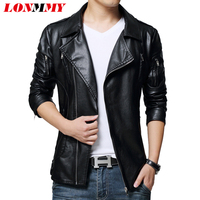 LONMMY 5XL Red leather jacket men Oblique zipper PU Suede Black mens leather coat jacket vintage motorcycle 2018 Autumn Spring