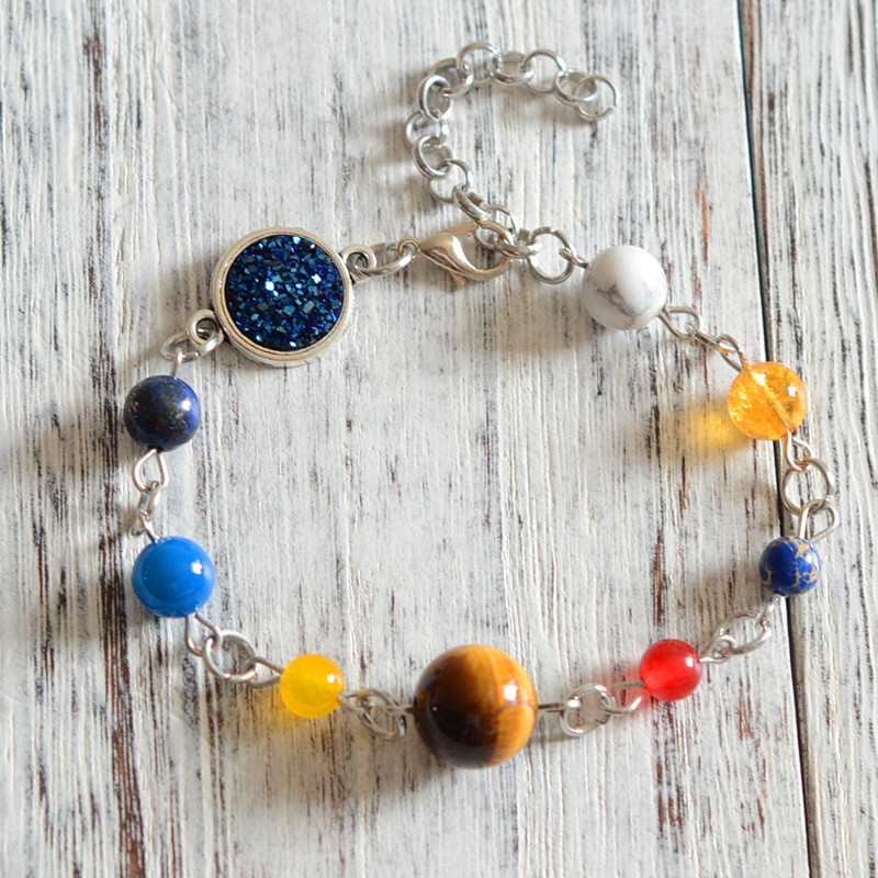 Universe Galaxy the Eight Planets in the Solar System Guardian Star Women Man Natural Stone Beads Bracelet