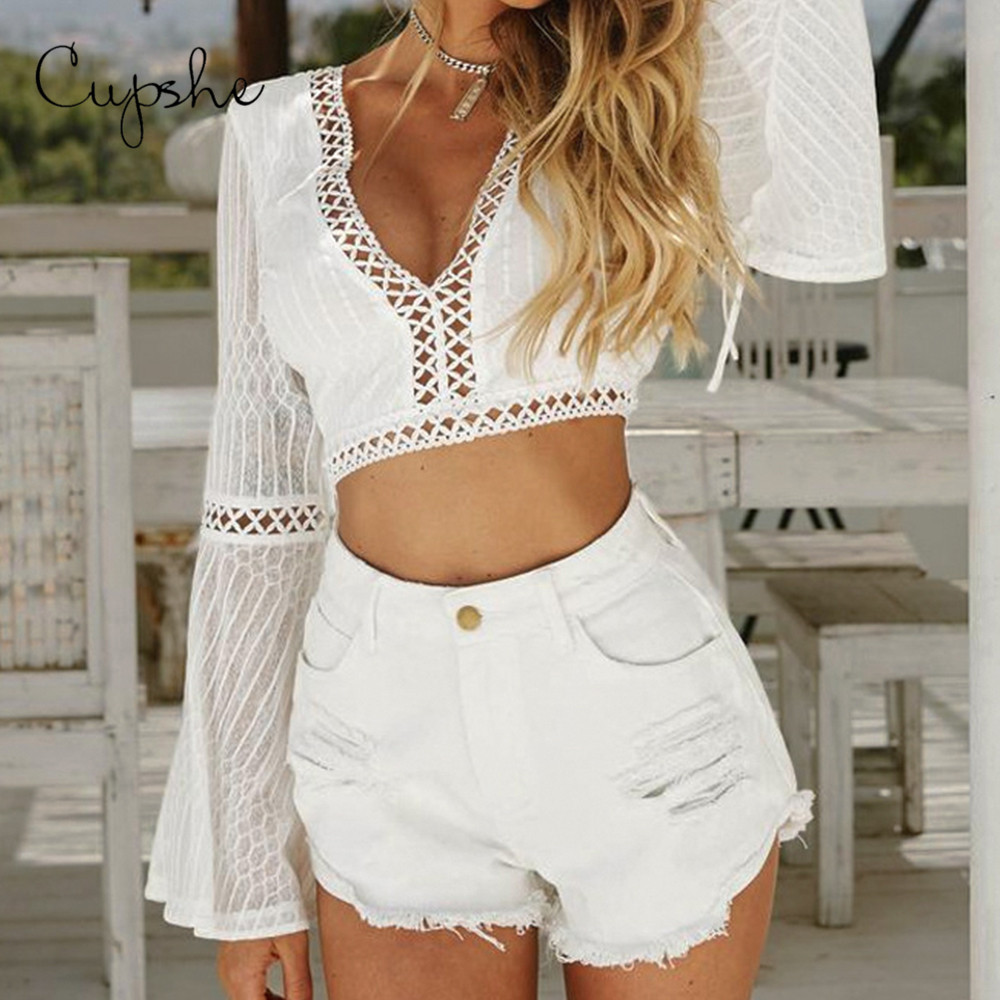 CUPSHE White Crochet Short Blouses Shirt 2019 Summer Beach Sexy Women Slim Bell Sleeve Crop Top Beachwear