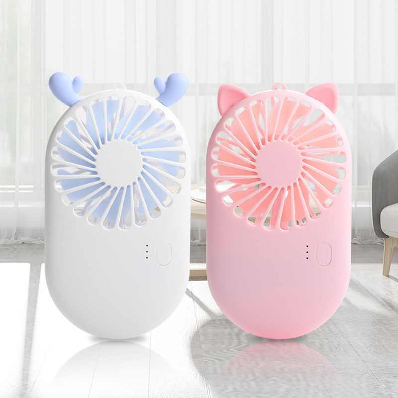 Mini Fan Cute Portable Handheld USB Chargeable Desktop Fans 3 Mode Summer Cooler For Outdoor Travel Office Desk Stand