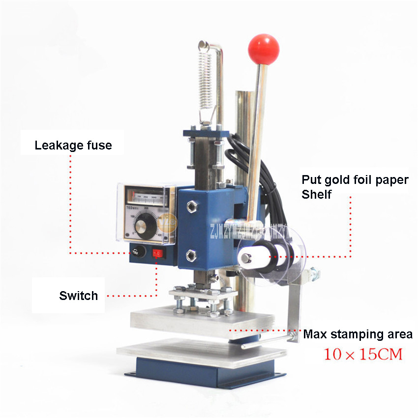 220V Manual Bronzing Machine Leather Embossed Scented Wood Notebook Album Business Card Trademark Pressure Mark Machine 10*15CM-in Embossers from Home ...