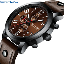 relogio masculino CRRJU New Brand Creative Quartz Men Watch Leather Chronograph Army Military Sport Watches Clock Men Date Reloj new reef tiger designer sport watches men chronograph date calfskin nylon strap super luminous quartz watch relogio masculino