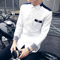 Men Shirt 2016 Fashion Brand Men'S Cuff Long-Sleeved Shirt Male Camisa Masculina Casual Slim Chemise Homme