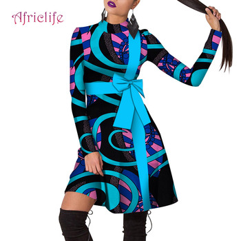 Custom Fit Cotton Material African Print Dresses with Zipper Long Sleeve African Kitenge Dress Bow Designs for Women WY4737