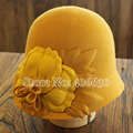 Wool Cloche Hats For Women Chapeu Yellow Bucket Hat Felt Ladies Floral Church Hat Free Shipping PWFR-057