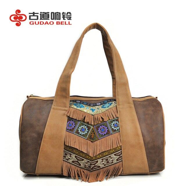 f5bc9424b9e50 Kadınlar etnik çanta haki el yapımı nakış çanta pu deri püskül bayanlar  çanta charm retro Fermuarlı