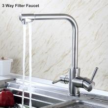 Triflow SUS304 Edelstahl Küchenarmatur Bleifreien Trinken Schwenkauslauf 3 Weise Filter Wasserhahn Küche