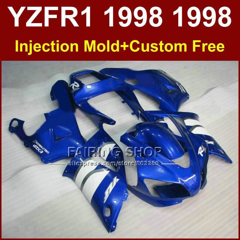 Kit de carénages pour pièces de carrosserie pour YAMAHA YZF R1 YZF1000 98 99 carénage personnalisé bleu R1 1998 1999 YZF R1 bodyworks + 7 cadeaux WRTA
