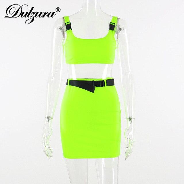 Dulzura 2020 donne di estate due pezzi set insieme del pannello esterno della fasciatura crop top tuta outfit streetwear 2 pezzi vestiti di festa 6