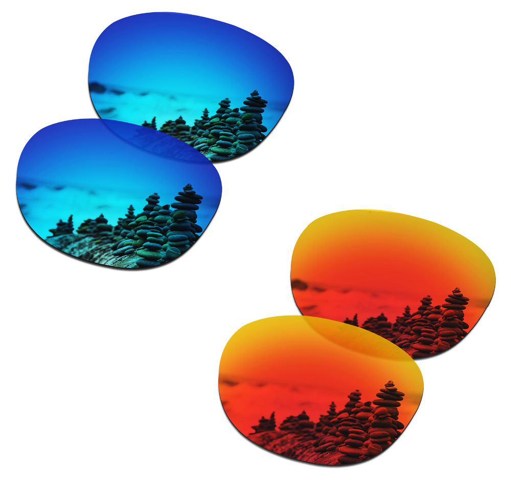 SmartVLT 2 Pairs Polarized Sunglasses Replacement Lenses for Oakley Latch Ice Blue and Fire Red