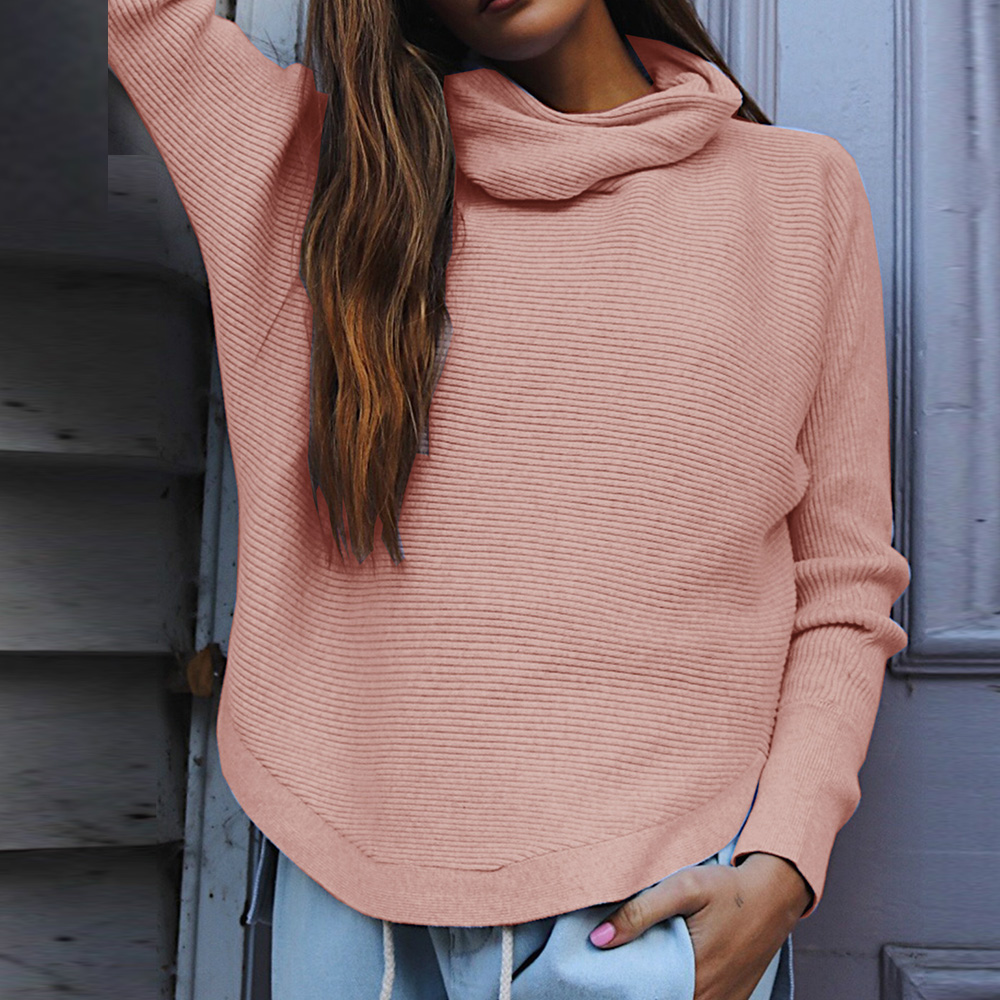 Women Knitted Sweater Solid Turtleneck Batwing Long Sleeve Pullover Autumn Winter Casual Fashion Female Warm Plus Size Sweaters