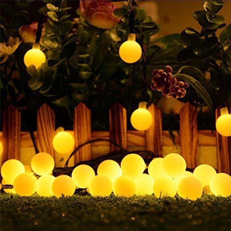 HTB1WPt4UbvpK1RjSZPiq6zmwXXaZ - White Ball Solar Lamp 10M Power LED String Fairy Lights Solar Garlands Garden Christmas Party Decor For Outdoor 50 LEDS Small