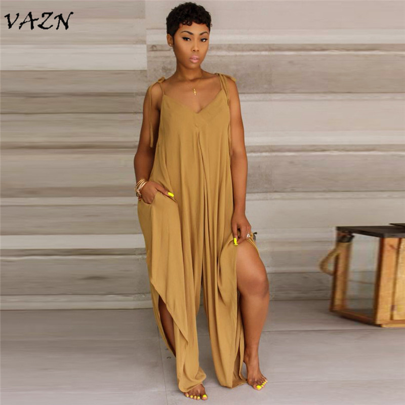VAZN Hot Fashionable Popular 2018 Casual Style Women High Street Spaghetti Strap   Jumpsuit   Solid Loose Chiffon Romper D8147
