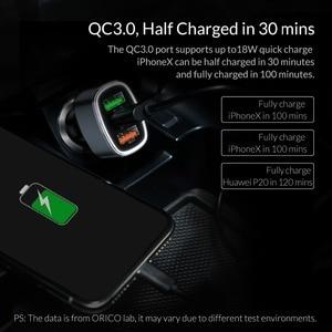 Image 5 - ORICO 33W 3 USB порта Быстрая зарядка QC 3,0 Автомобильное зарядное устройство для iPhone XR XS MAX 8 Samsung S10 зарядное устройство мобильный телефон быстрое автомобильное зарядное устройство