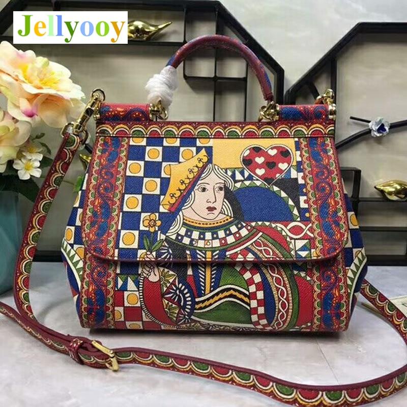 где купить Original Quality Italy Sicily Luxury Handbags Poker Printing Shoulder Bag Famous Design Female Tote Bag Crossbody Bags for Women по лучшей цене