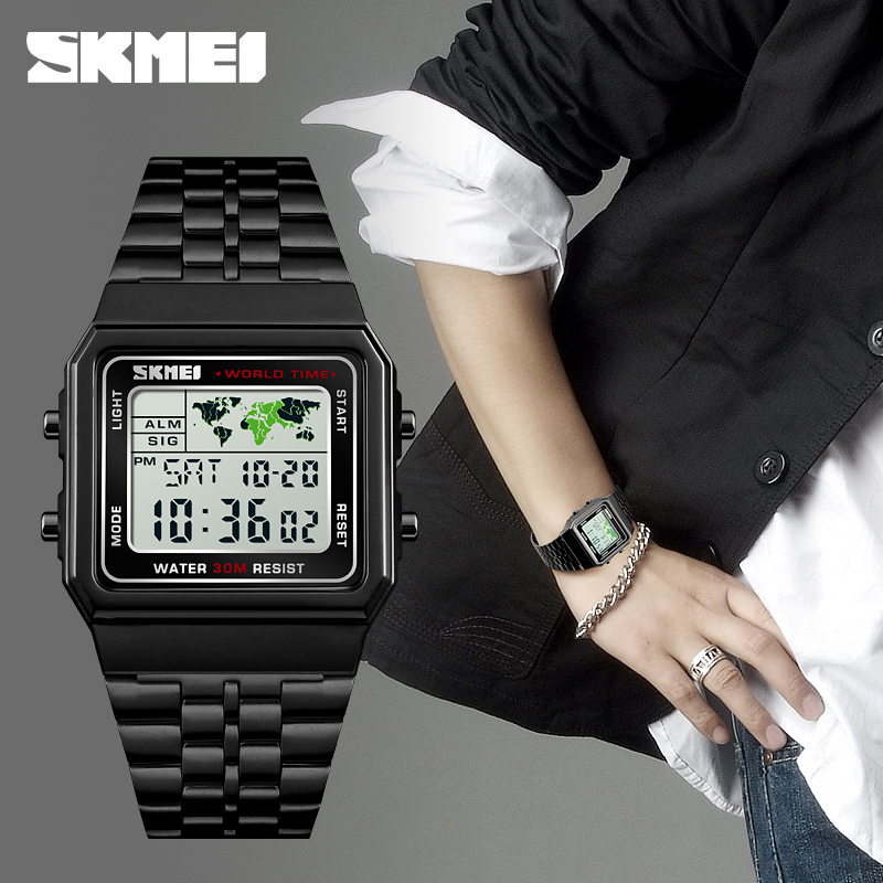 Image 4 - SKMEI Top Luxury Fashion Sport Watch Men Alarm Clock 3Bar Waterproof Stainless Steel Strap Digital Watches reloj hombre 1338-in Digital Watches from Watches