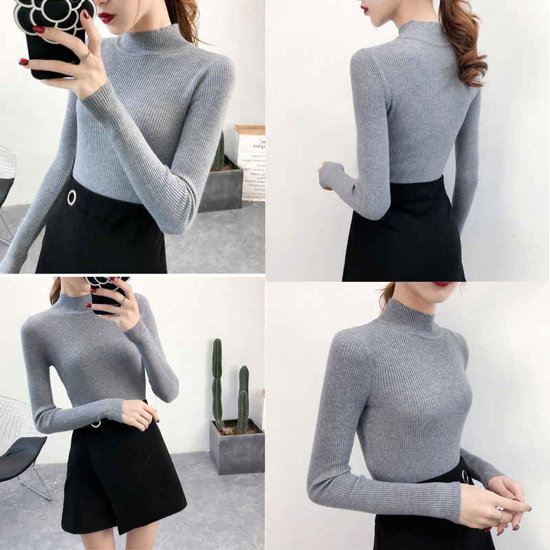 SVOKOR Sweater Women Solid Slim Half-neckline Warm Knitwear Winter Long Sleeve Turtleneck Top 7