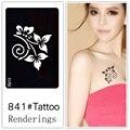 Desechables tatuaje plantilla, desmontable, la creación artística, de moda, de la piel disponibles, tatuajes, Plantas, flores, orquídea mariposa