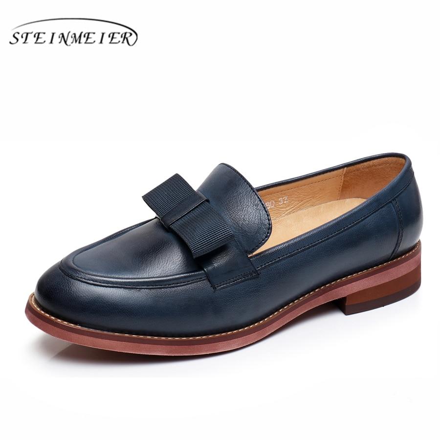 Yinzo zapatos Oxford de mujer zapatos de cuero genuino Mujer Zapatos Zapatillas de casuales Vintage Brogues para mujer calzado-in Zapatos planos de mujer from zapatos    1